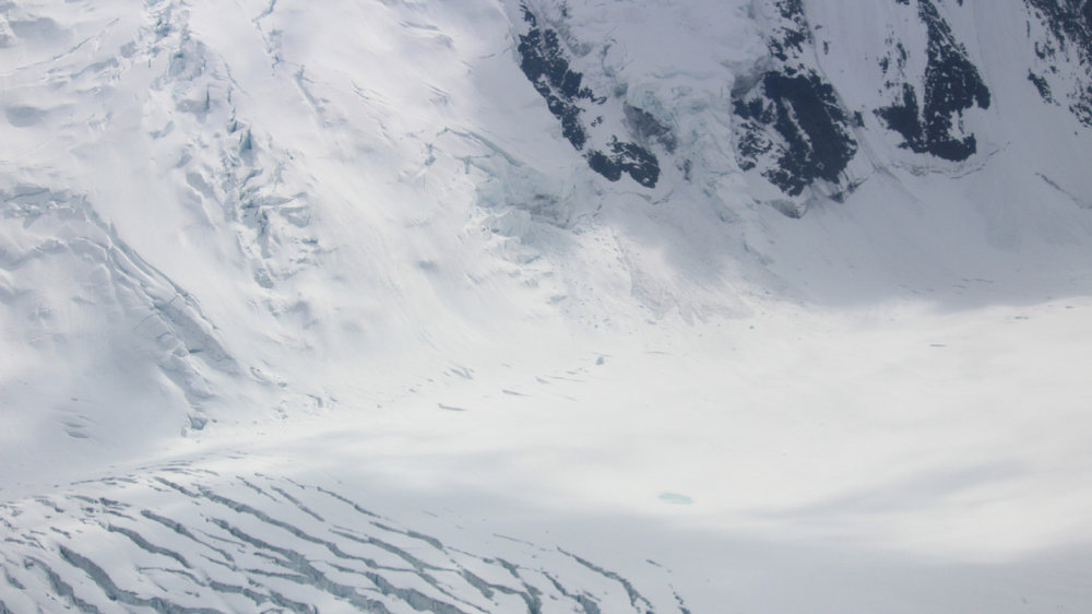 The crevasses and ice field of the Muldrow Glacier, the route used by NOLS Denali climbs.