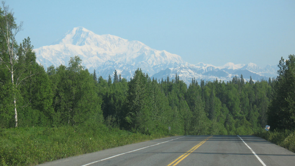 Denali on a clear day, from the Parks Highway.