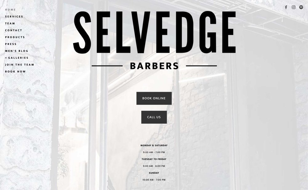 SELVEDGE BARBERS' Official Website → -