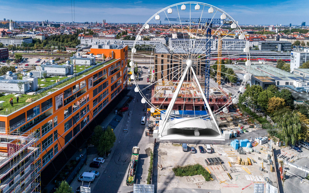 Hi-Sky Munich & MOTORWORLD - Munich's new BUSSINK® wheel has found a name and operator The Motorworld Group will be taking over the operation of Munich's new attraction, the 'Hi-Sky München'. Constructed by Munich-based MAURER SE, it will be located in the new district Werksviertel-Mitte. Three strong partners will be lining up to establish the world's biggest mobile BUSSINK wheel as a new crowd-puller in the tourism metropolis of Munich. Alongside traditional rides, the Motorworld Group is also planning truly special experiences with Hi-Sky München.Website Hi-Sky München click hereWebsite MOTORWORLD click hereDownload press release click here