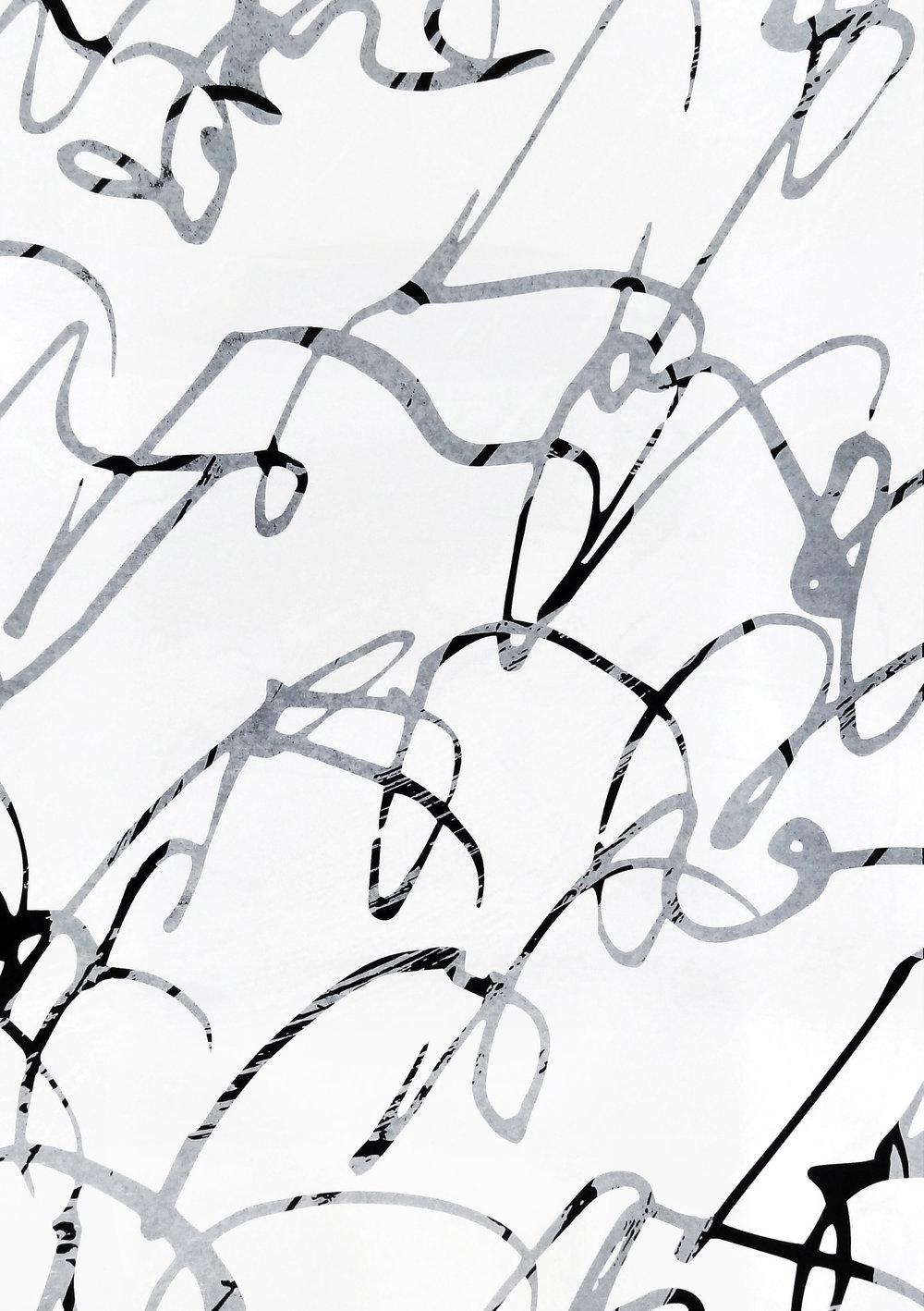 Untitled, 2018 acrylic on paper one-off screenprint 57 x 40 cm (28-18)