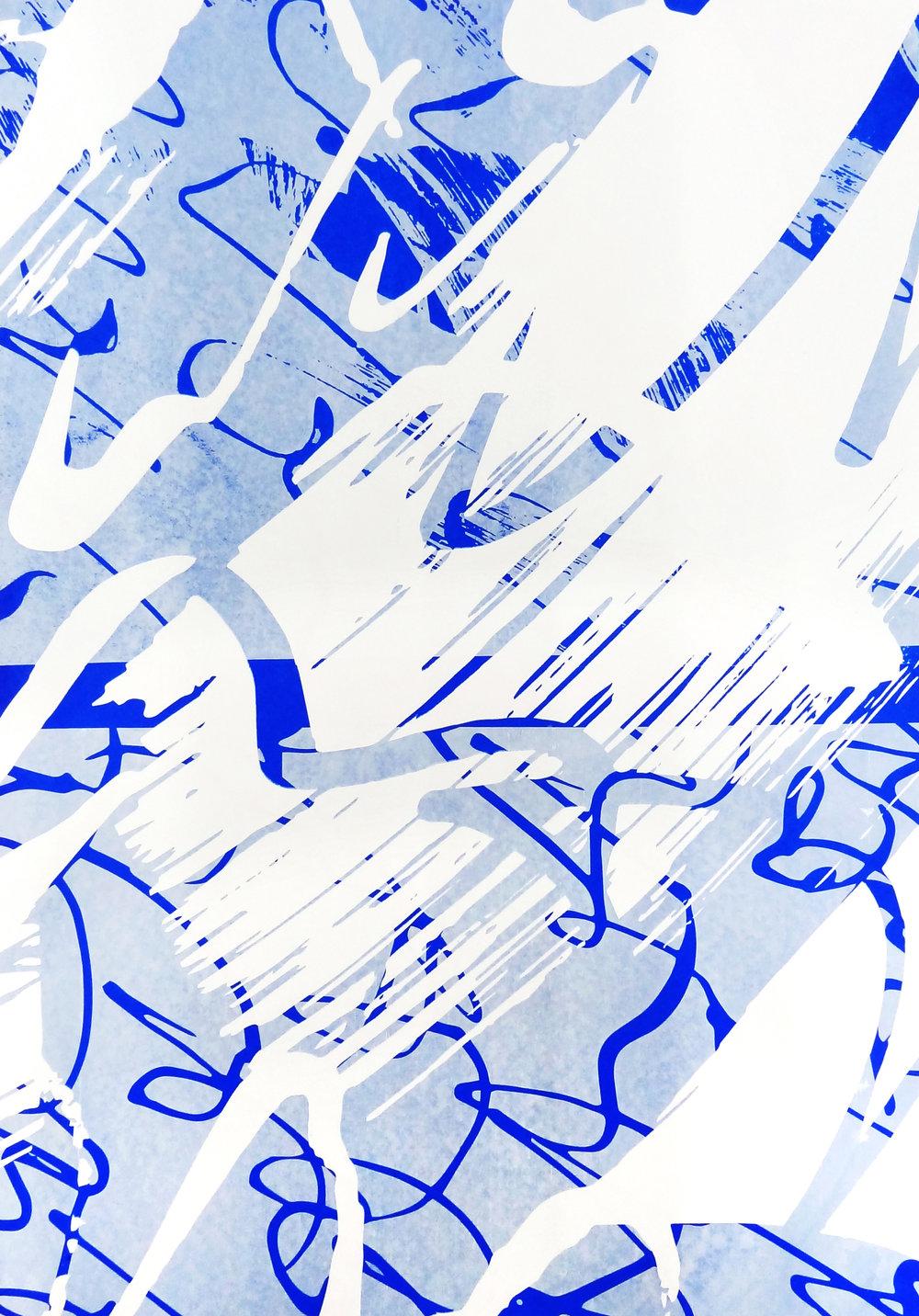 Untitled, 2018 acrylic on paper one-off screenprint 57 x 40 cm (26-18)