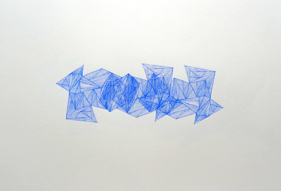 Imaginative Spaces (blue), 2012 acrylic on paper one-off screenprint 59 x 42 cm (8-12)