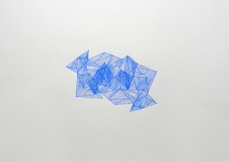 Imaginative Spaces (blue), 2012 acrylic on paper one-off screenprint 59 x 42 cm (7-12)