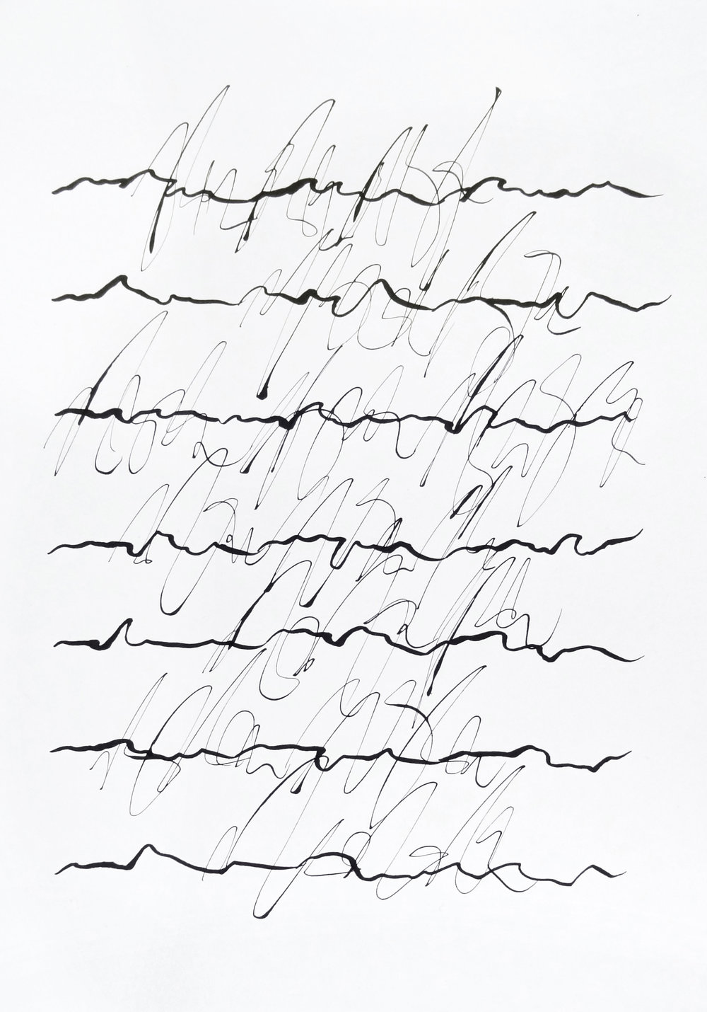 rhythm and flow studies, 2019 calligraphy ink on paper 42,0 x 29,7 cm (1-19)