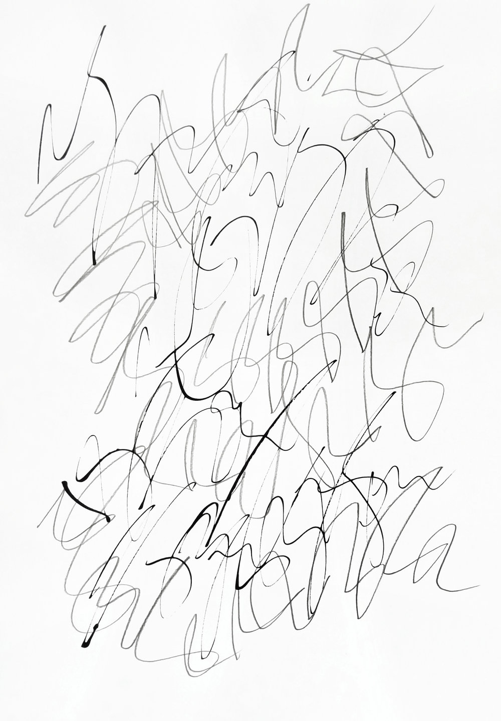 rhythm and flow studies, 2019 calligraphy ink and pencil on paper 42,0 x 29,7 cm (7-19)