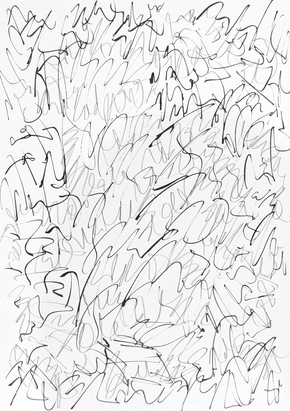 rhythm and flow studies, 2019 calligraphy ink and pencil on paper 42,0 x 29,7 cm (5-19)