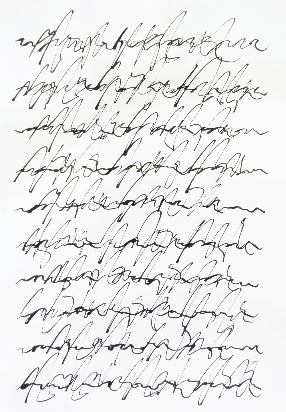 rhythm and flow studies, 2019 calligraphy ink on paper 42,0 x 29,7 cm (3-19)