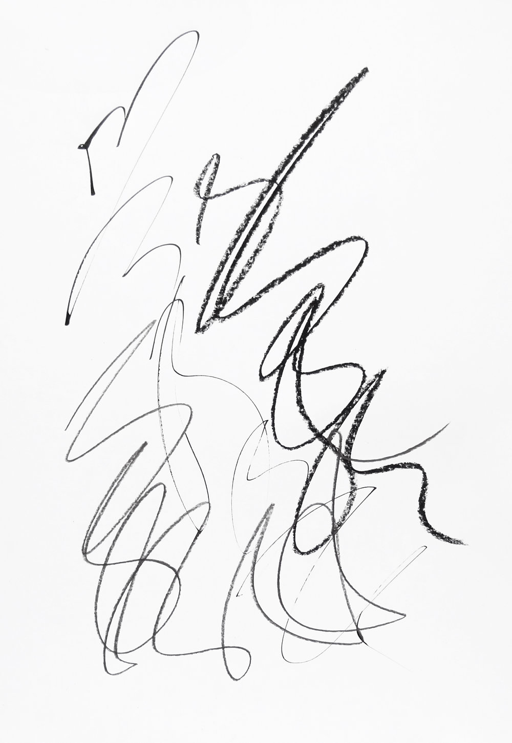 rhythm and flow studies, 2019 calligraphy ink, pencil and chalk on paper 42,0 x 29,7 cm (11-19)