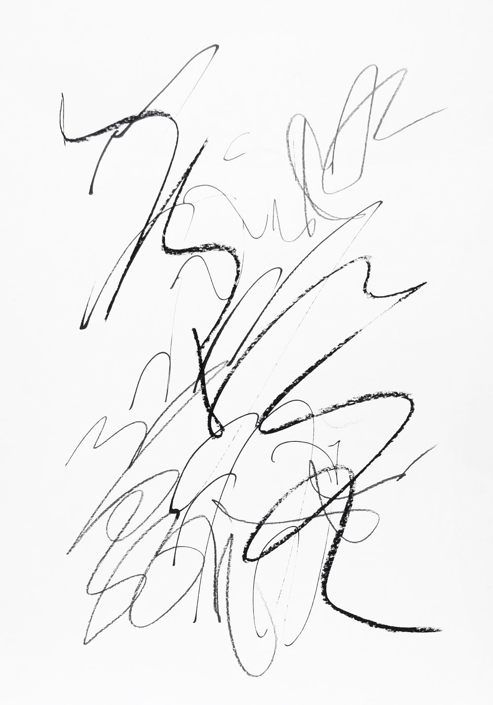 rhythm and flow studies, 2019 calligraphy ink, pencil and chalk on paper 42,0 x 29,7 cm (12-19)