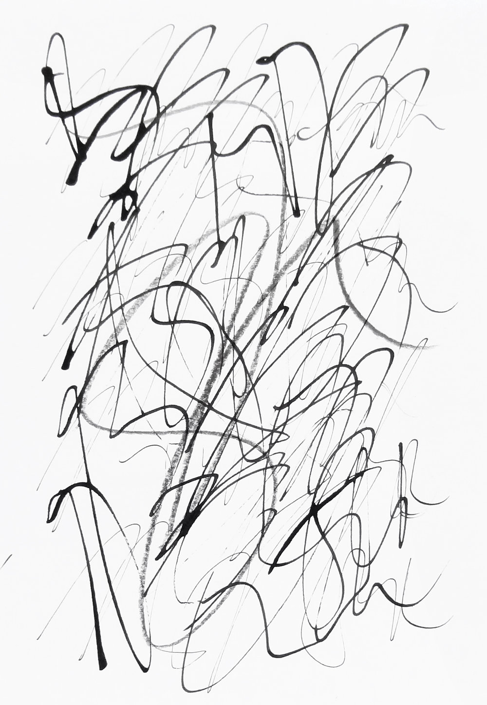 rhythm and flow studies, 2019 calligraphy ink and pencil on paper 42,0 x 29,7 cm (18-19)