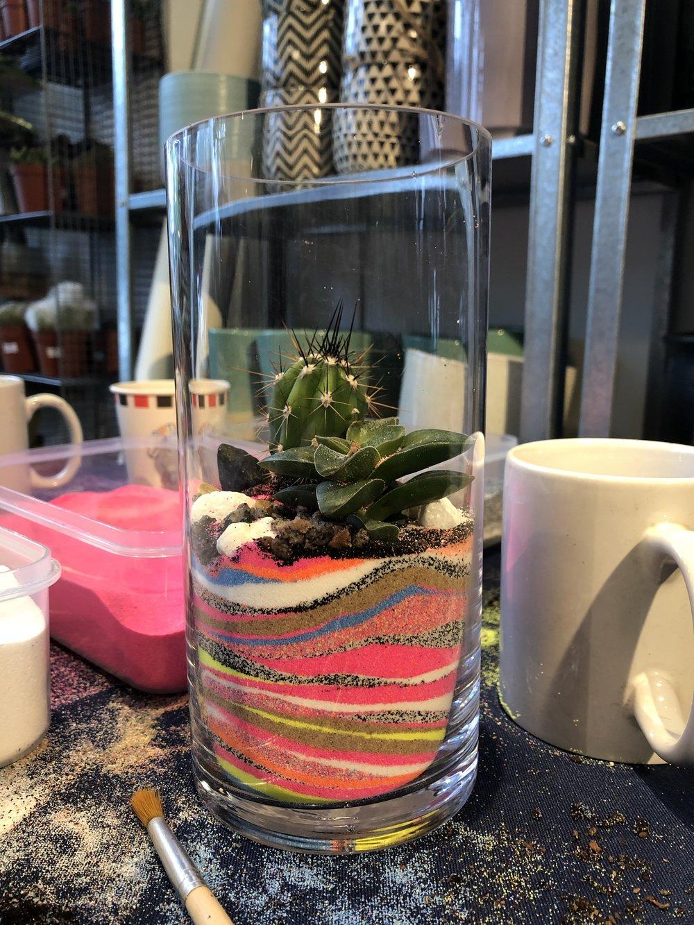 Sam's succulent and cactus terrarium at the kids terrarium workshop party.