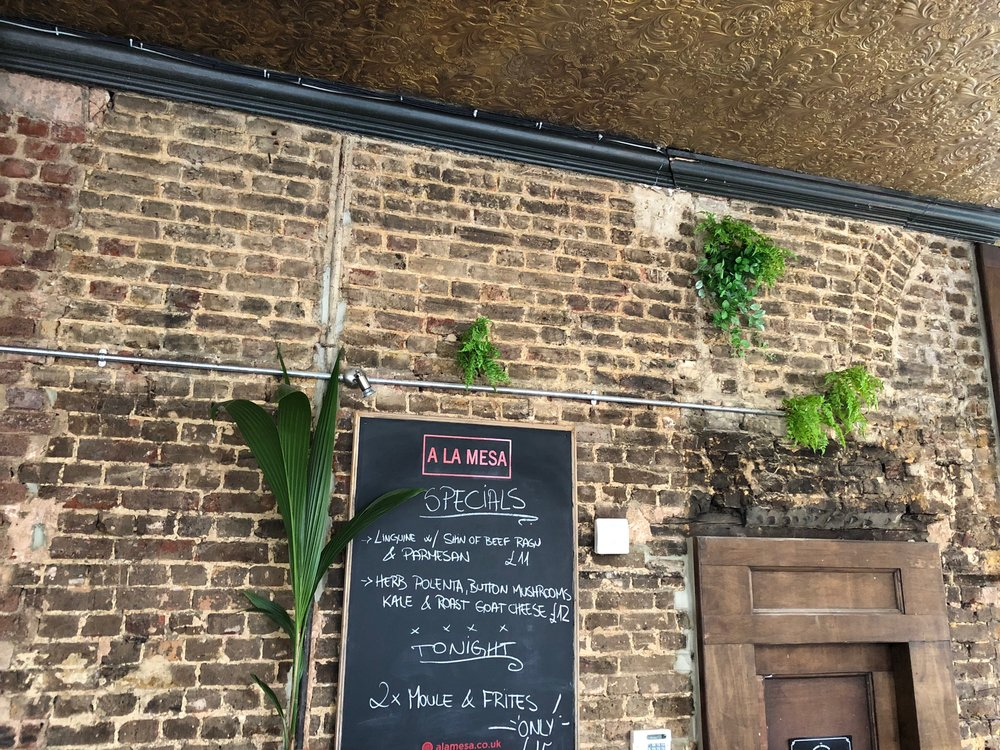 Little artificial plants plugged into a pub wall