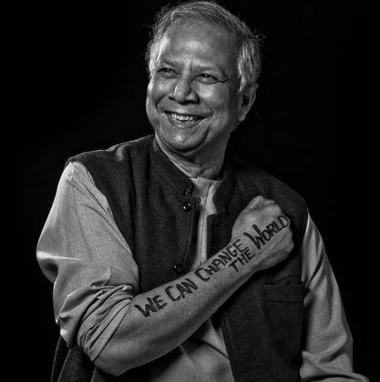 Muhammad Yunus   Professor Yunus is the Founder of Grameen Bank, pioneering the concepts of microcredit and microfinance and receiving a Nobel Peace Prize in 2006 for his efforts to eradicate poverty and inequality. Born in Bangladesh, Prof. Yunus has a Ph.D in economics. He has served on the Global Commission of Women's Health, the Advisory Council for Sustainable Economic Development, and the UN Expert Group on Women in Finance.