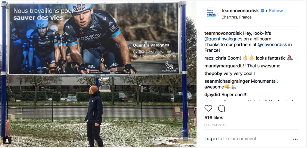The quality of the photographs are such high res that they ware used for billboards too. This is a Billboard for TEAM NOVO NORDISK in France with athlete Quentin Valognes looking at himself.