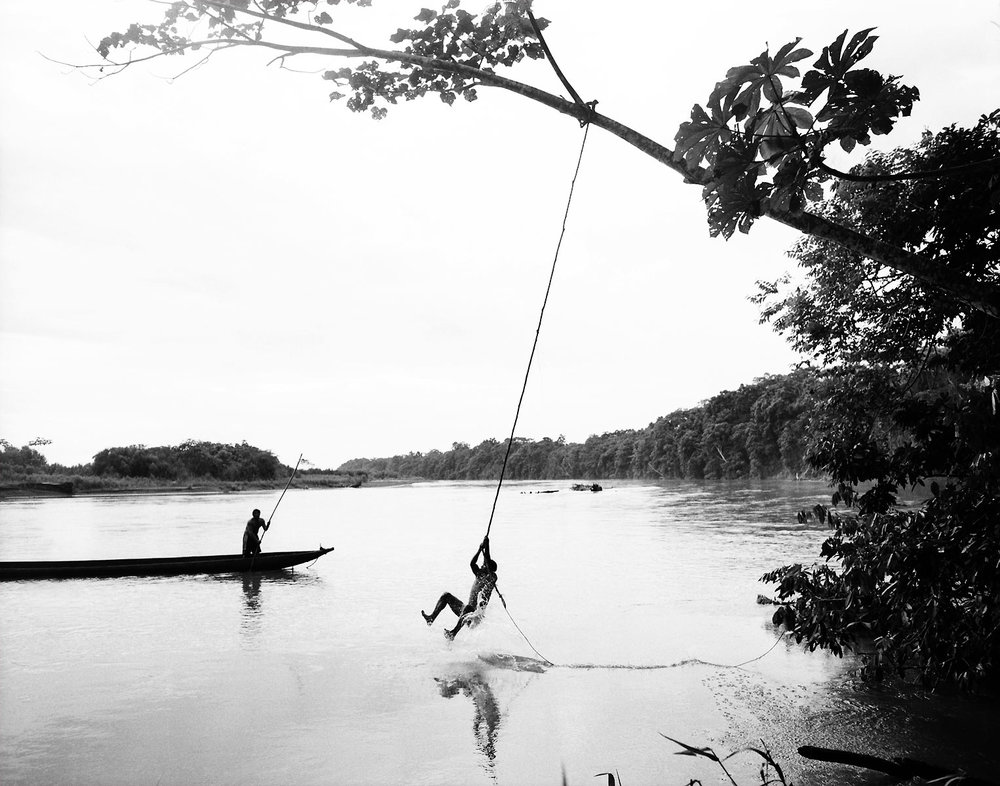 Playing in the Rio Pastaza