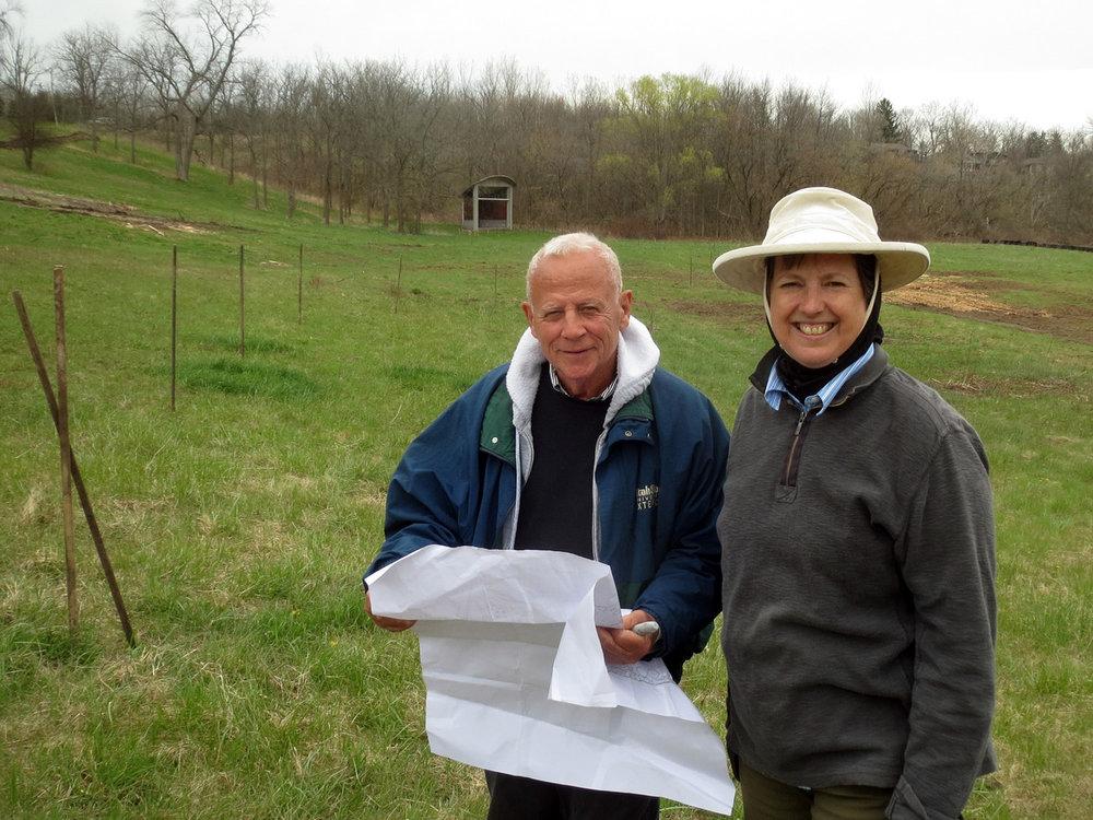 Darrel and Nancy, reviewing plans, April 2016