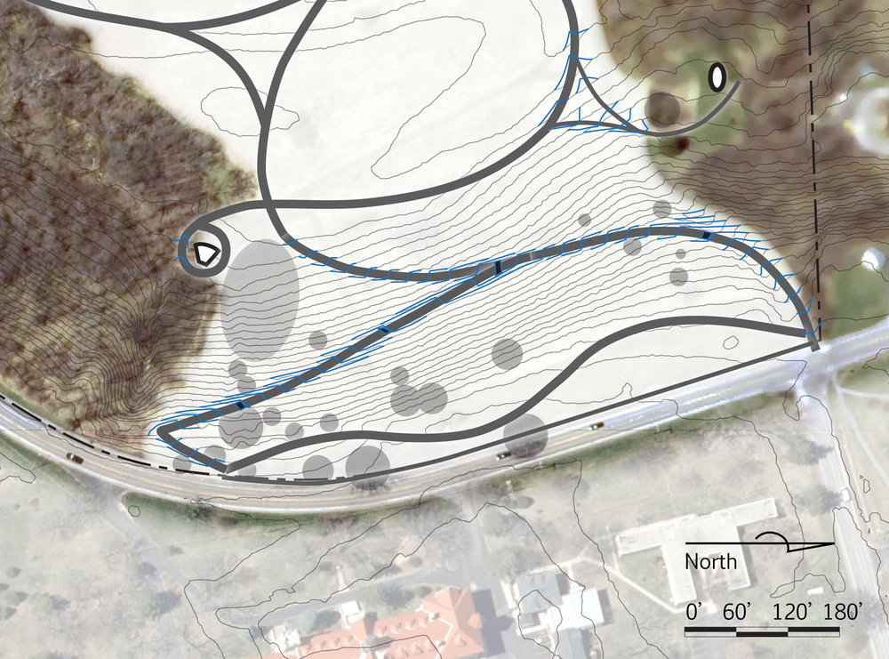 Detail, grading for universal-access trail on very steep slope