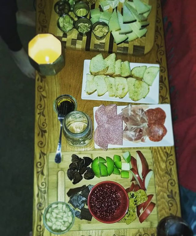 I should have gotten a better picture but we were so impatient to eat it! It was our #Christmas #charcuterie board.  #meat #cheese #board #fruit #nuts #holiday #merrychristmas #food #foodporn