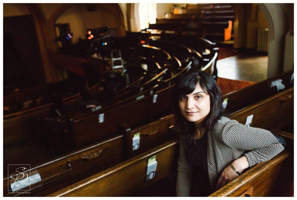 Sarah Davachi artist portrait at Central United Church for Sled Island 2014