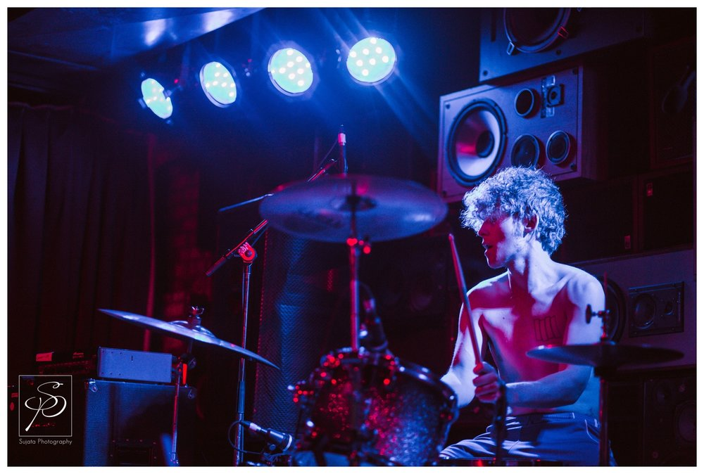 Tomahonqii drummer playing at Commonwealth Stage and Bar Sled Island 2014