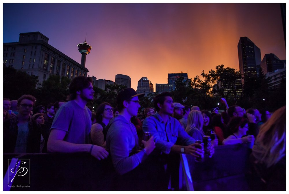 Dramatic Sunset over Olympic Plaza crowd at Sled Island 2014