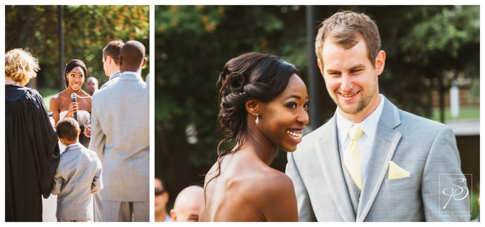 Bride and Groom smiling during their garden wedding ceremony at Lougheed House Calgary