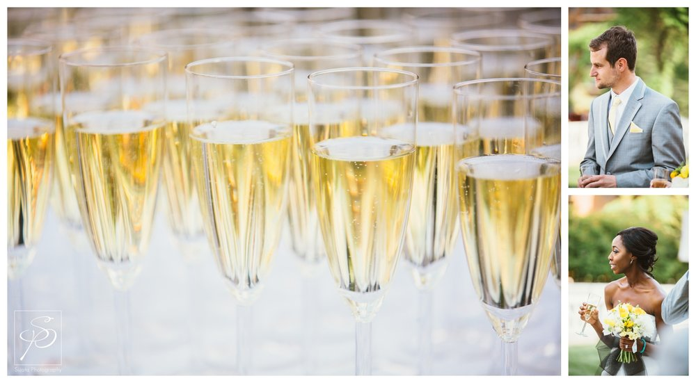 Champagne toast during cocktails at Lougheed House wedding Calgary