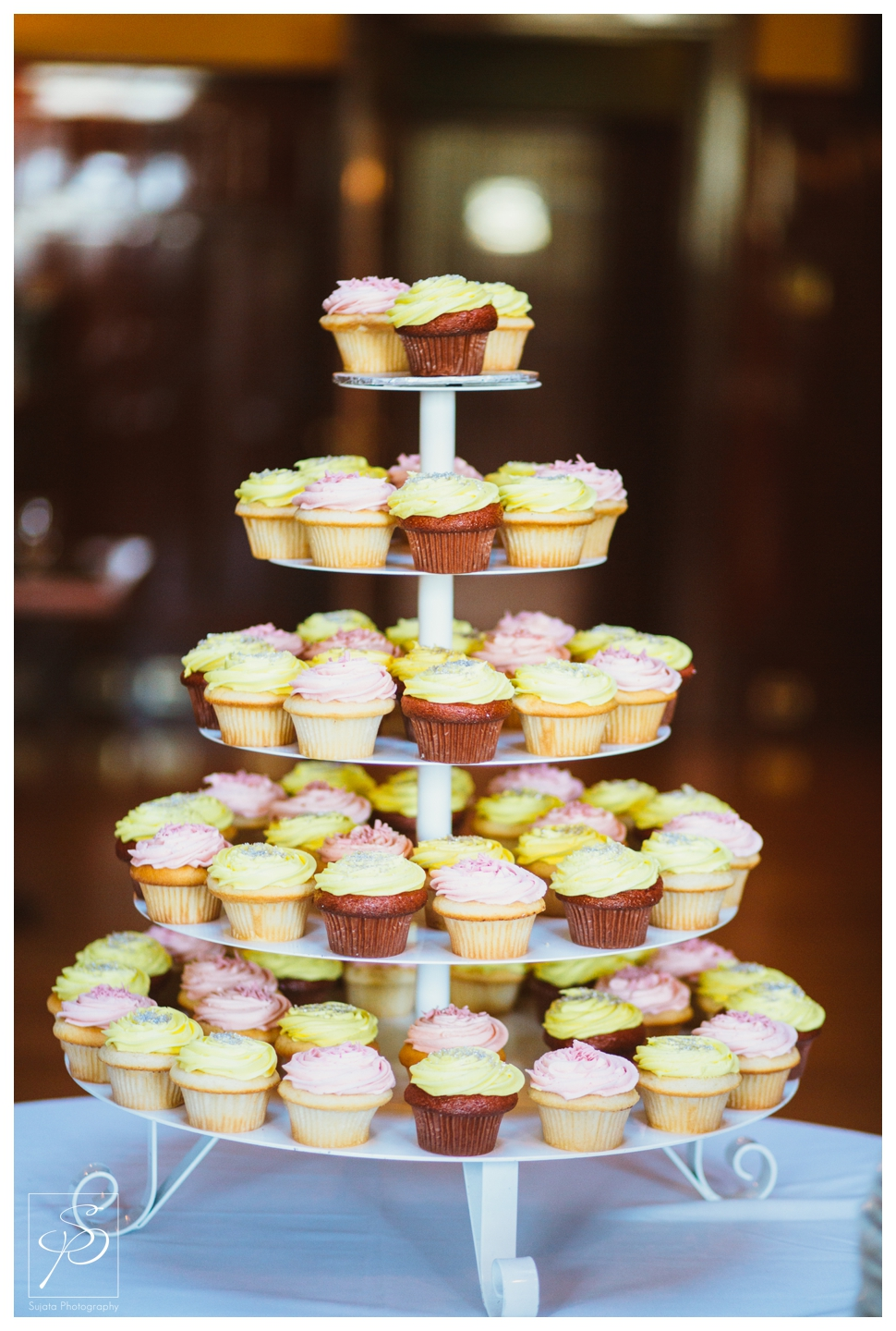 Cupcake tower at wedding reception at Lougheed House Calgary