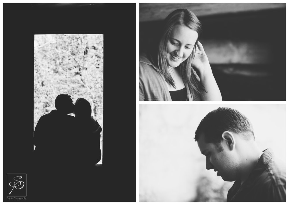 Black and white portraits of a couple during the Canmore engagement session