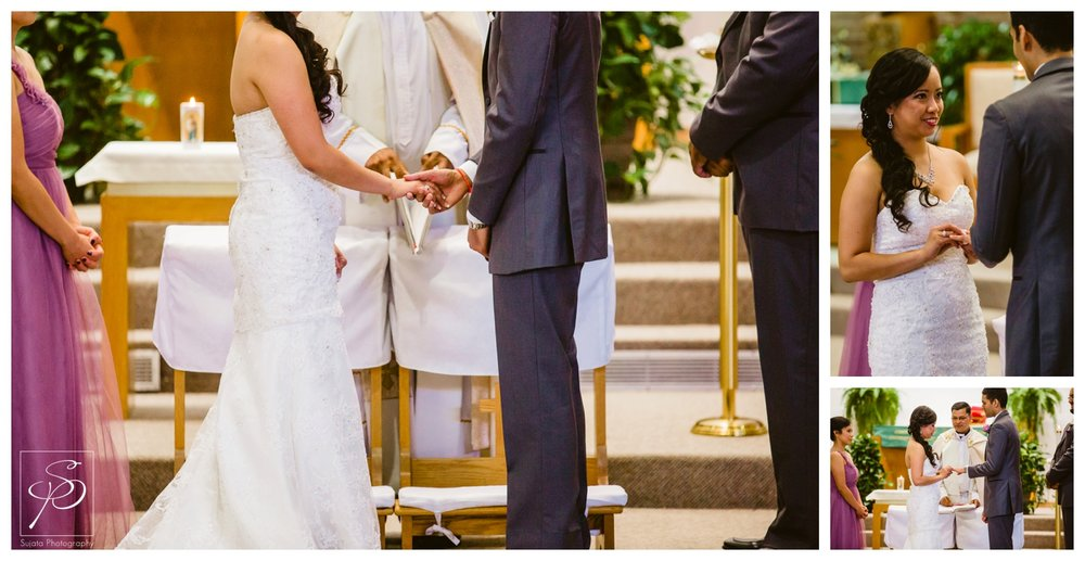 Bride and Groom exchanging rings during Catholic Ceremony Calgary