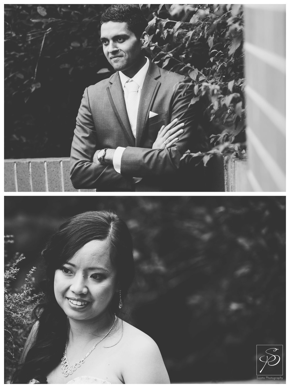 Black and White photos of Bride and Groom after their ceremony Calgary