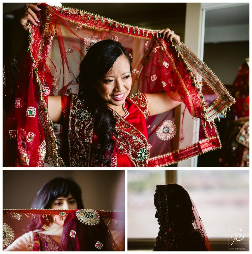 Bride putting on veil for Hindu wedding ceremony St. Thomas More Calgary