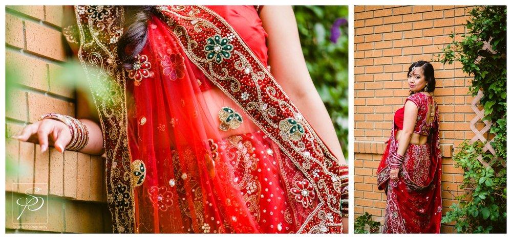 Hindu bridal portraits with bride in red Sari Calgary