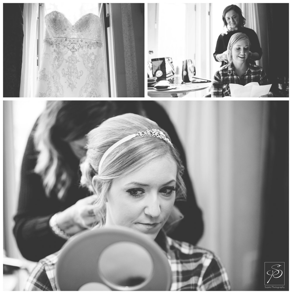 Black and white portrait of bride getting ready for mountain wedding