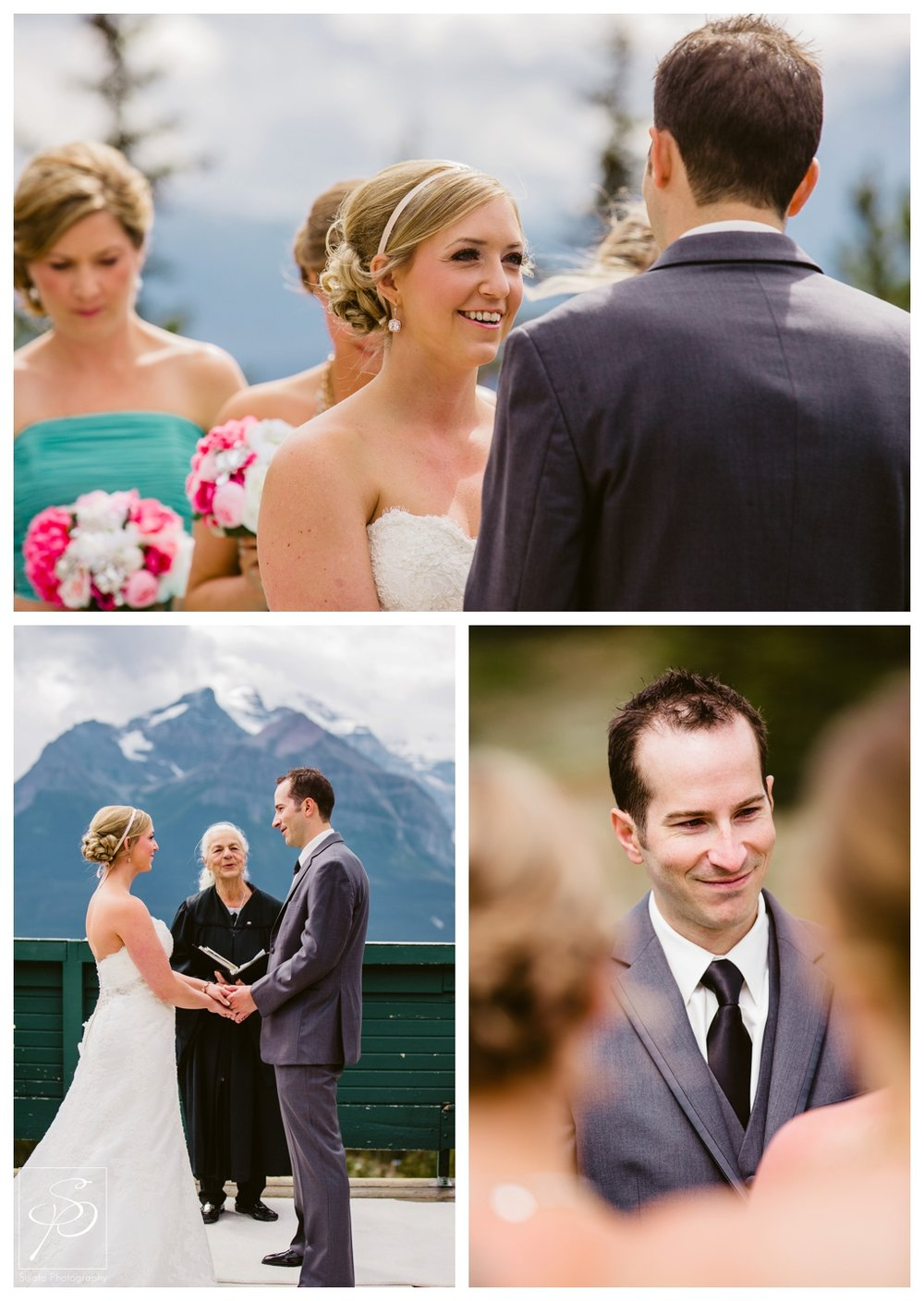 Bride and Groom exchanging vows wedding ceremony Lake Louise Ski Hill