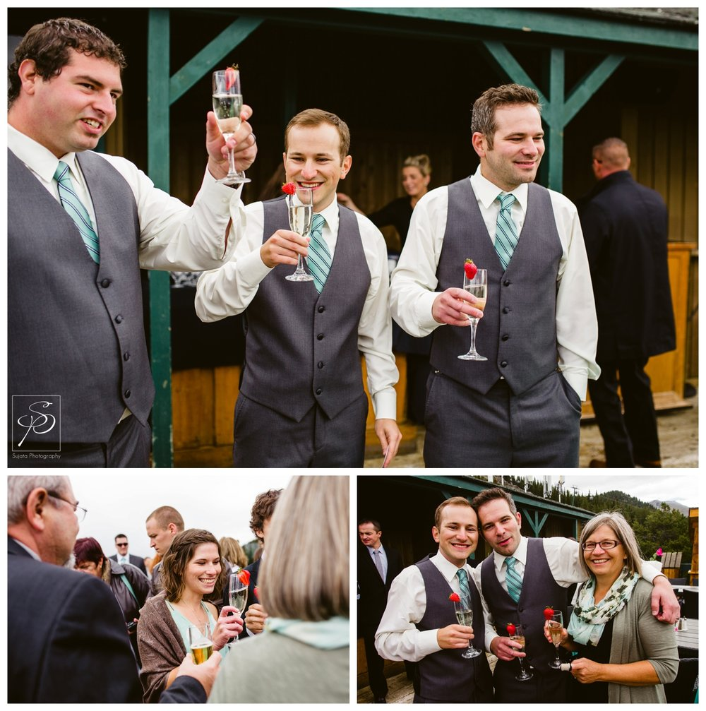 Champagne toast after wedding ceremony at Lake Louise Ski Hill