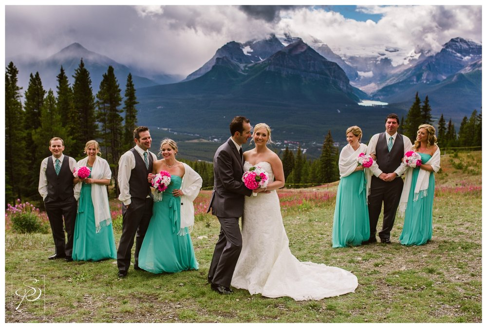 Bridal party photos at top of ski hill in Lake Louise