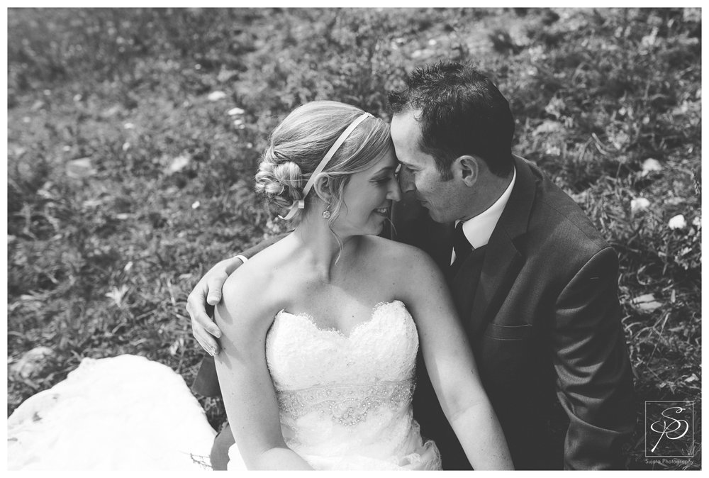 Black and White portrait of bride and groom Lake Louise Ski Hill