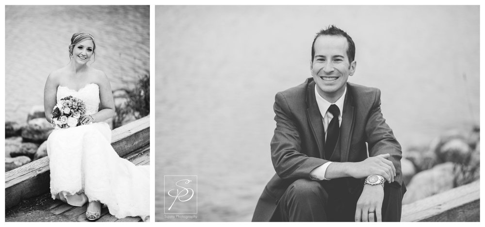Black and white bridal portraits at Lake Louise in Banff