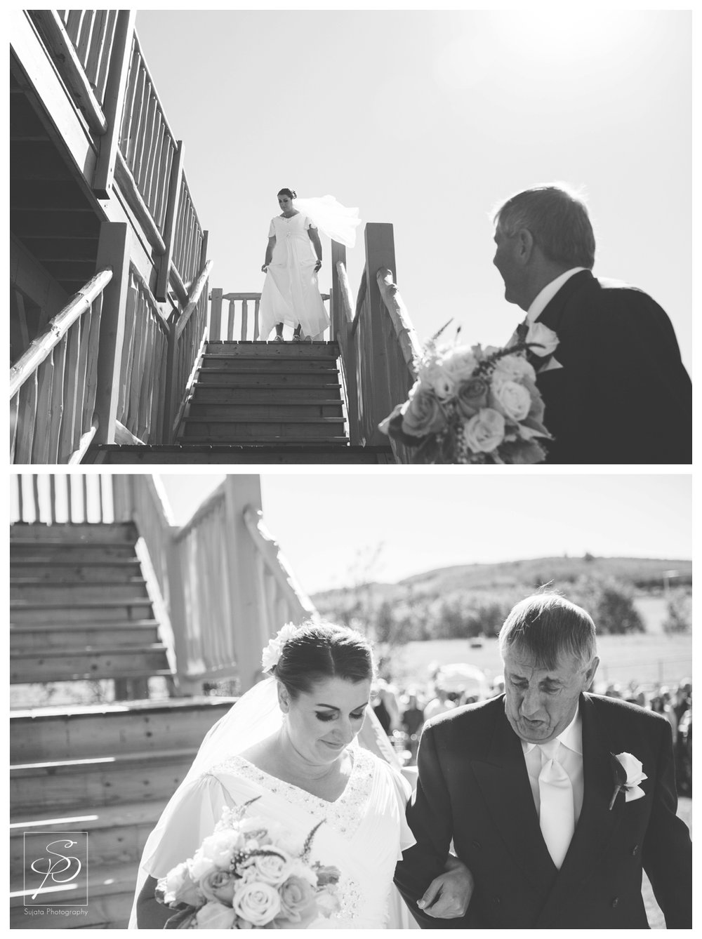 Bride meeting her dad to walk down the aisle
