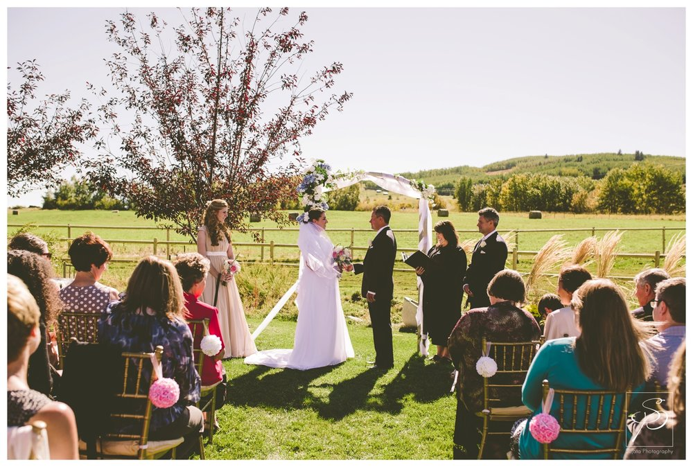 Outdoor acreage wedding ceremony