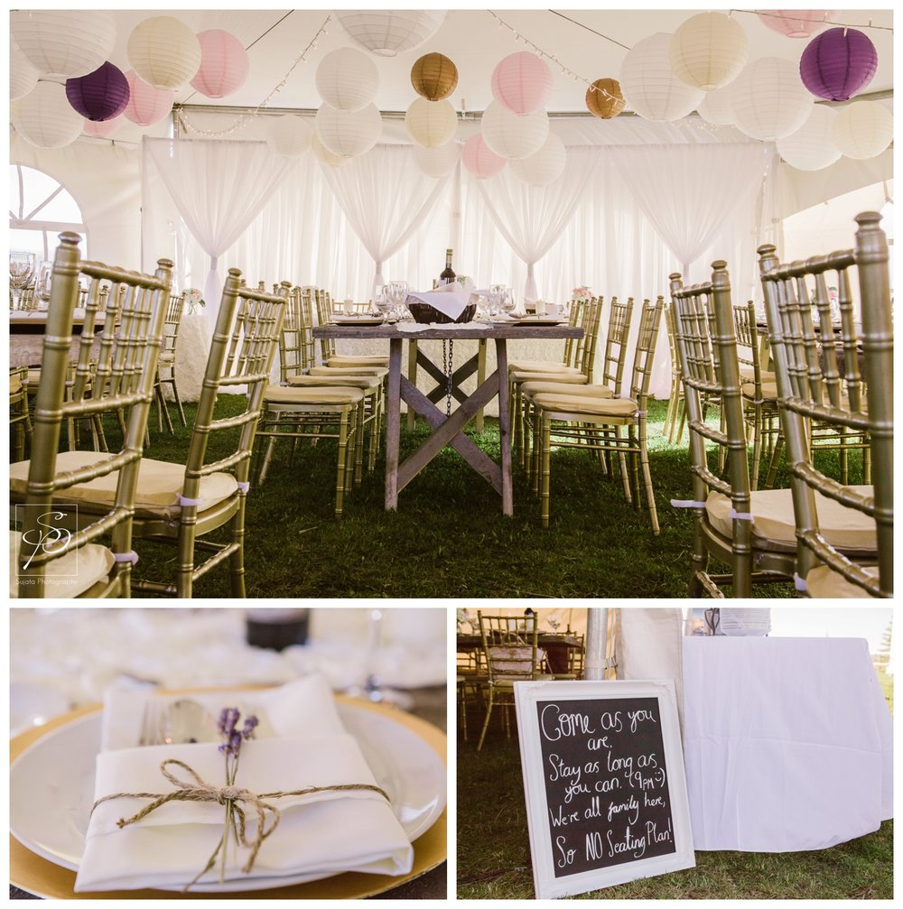 Tent reception decorations for acreage wedding