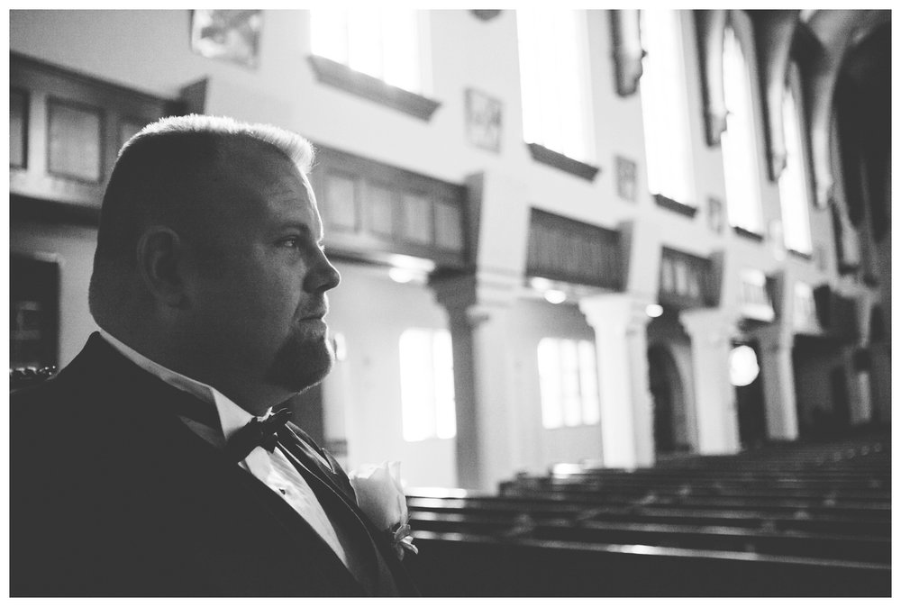 Groom waiting for wedding ceremony at St. Mary's Cathedral