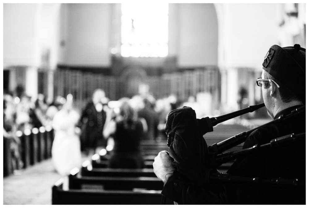 Bagpiper at St. Mary's Cathedral wedding