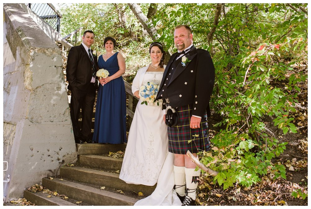 Bridal party photos in downtown Calgary park