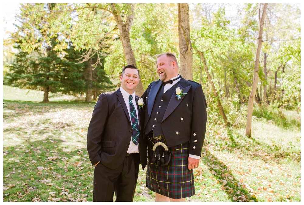 Groom with Best Man in downtown Calgary park