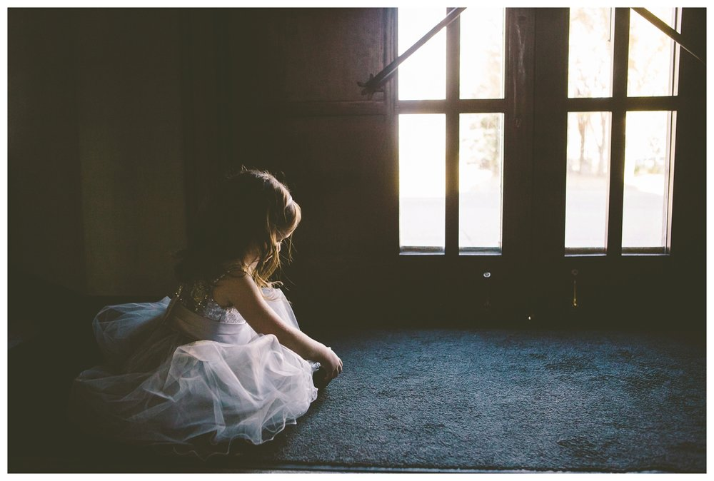 Flower girl waiting for bride at St. Mary's Cathedral