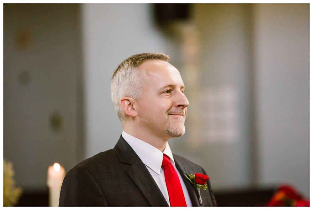Groom waiting for bride catholic wedding ceremony