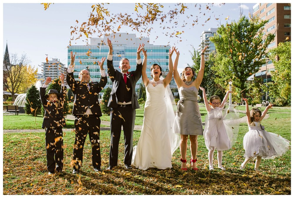 Fall Cathedral wedding in downtown Calgary